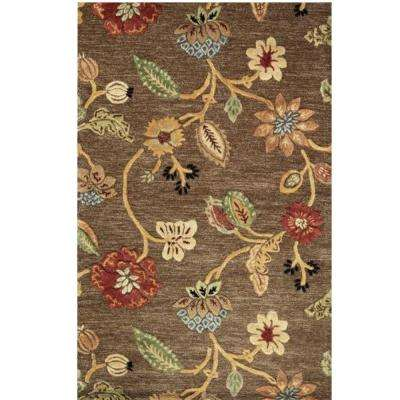 Portico Brown 5 ft. 9 in. x 5 ft. 9 in. Round Area Rug