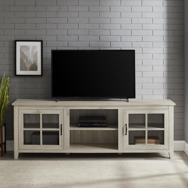 Birch Composite Tv Stand Fits Tvs Up, Tv Stands With Cabinet Doors