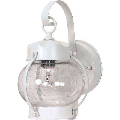 1-Light White Outdoor Wall Mount Lantern with Clear Seed Glass