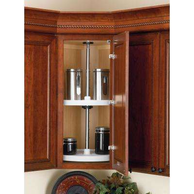 26 in. H x 18 in. W x 18 in. D White Value Line Full Circle Lazy Susan 2-Shelf Set