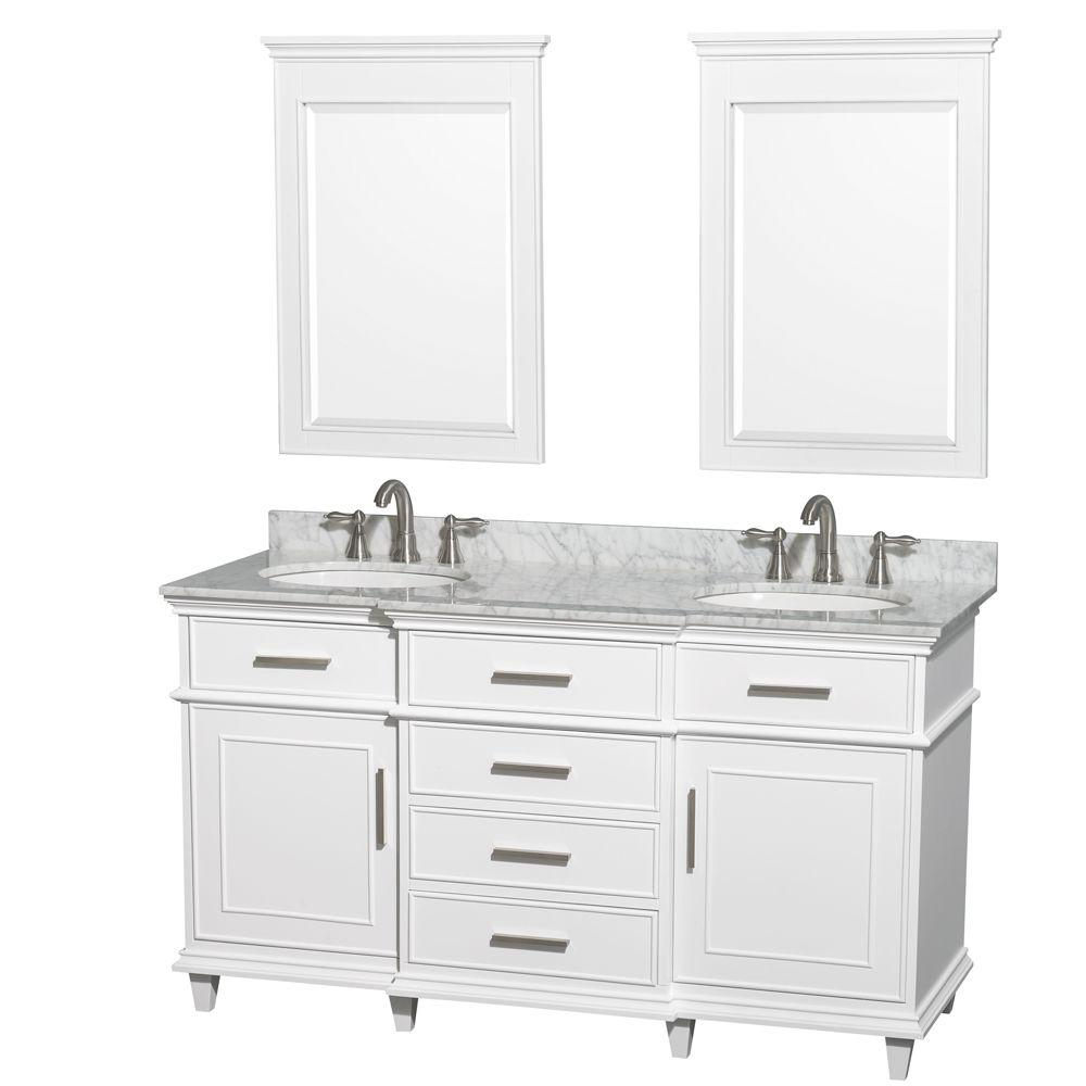 Berkeley 60 in. Double Vanity in White with Marble Vanity Top