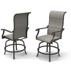 Riverbrook Espresso Brown Swivel Aluminum Sling Outdoor Balcony Bistro Chairs (2-Pack)