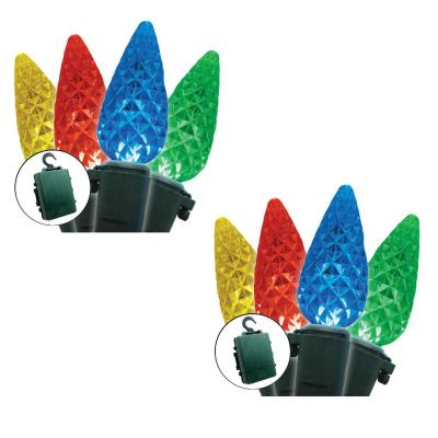 Battery Operated 35-Light C6 LED Multi-Color Light Set (Set of 2)