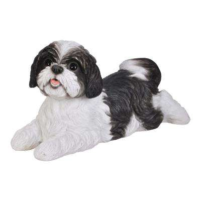 Black/White Shih Tzu Lying Down Garden Statue