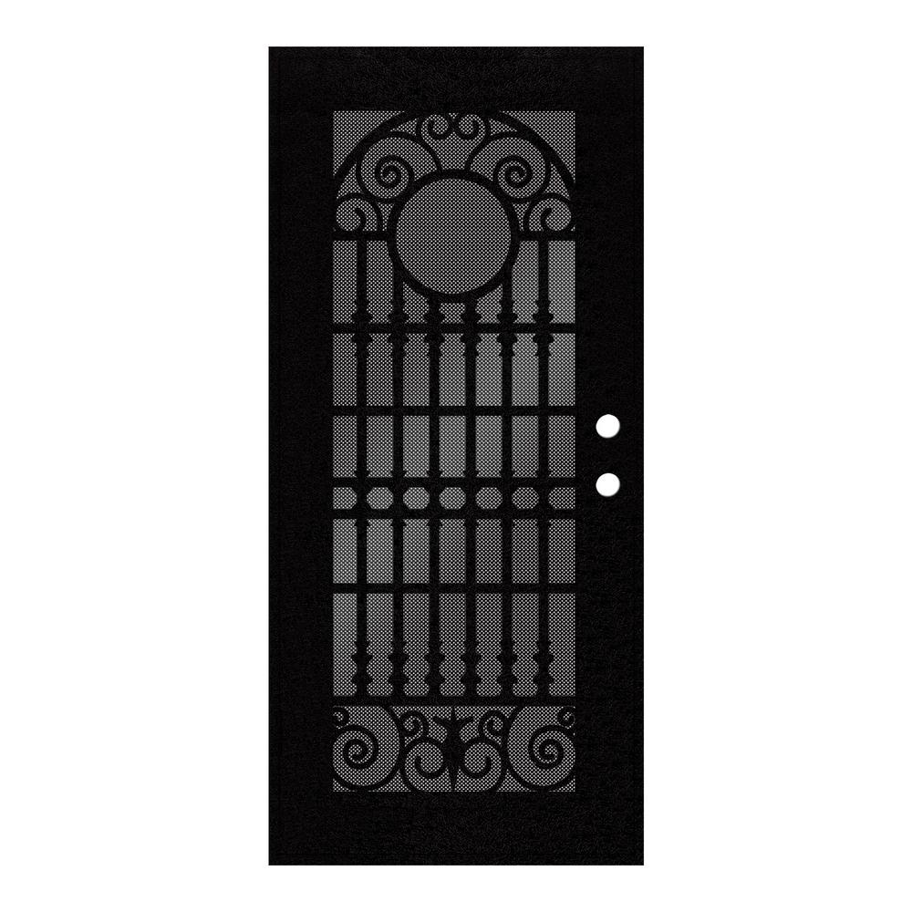 36 in. x 80 in. Spaniard Black Left-Hand Surface Mount Aluminum