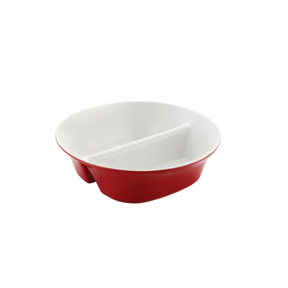 Rachael Ray 12 in. Round and Square Divided Dish in Red