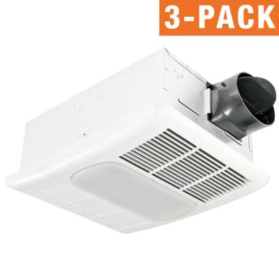 Radiance Series 80 CFM Ceiling Bathroom Exhaust Fan with Light and Heater (3-Pack)