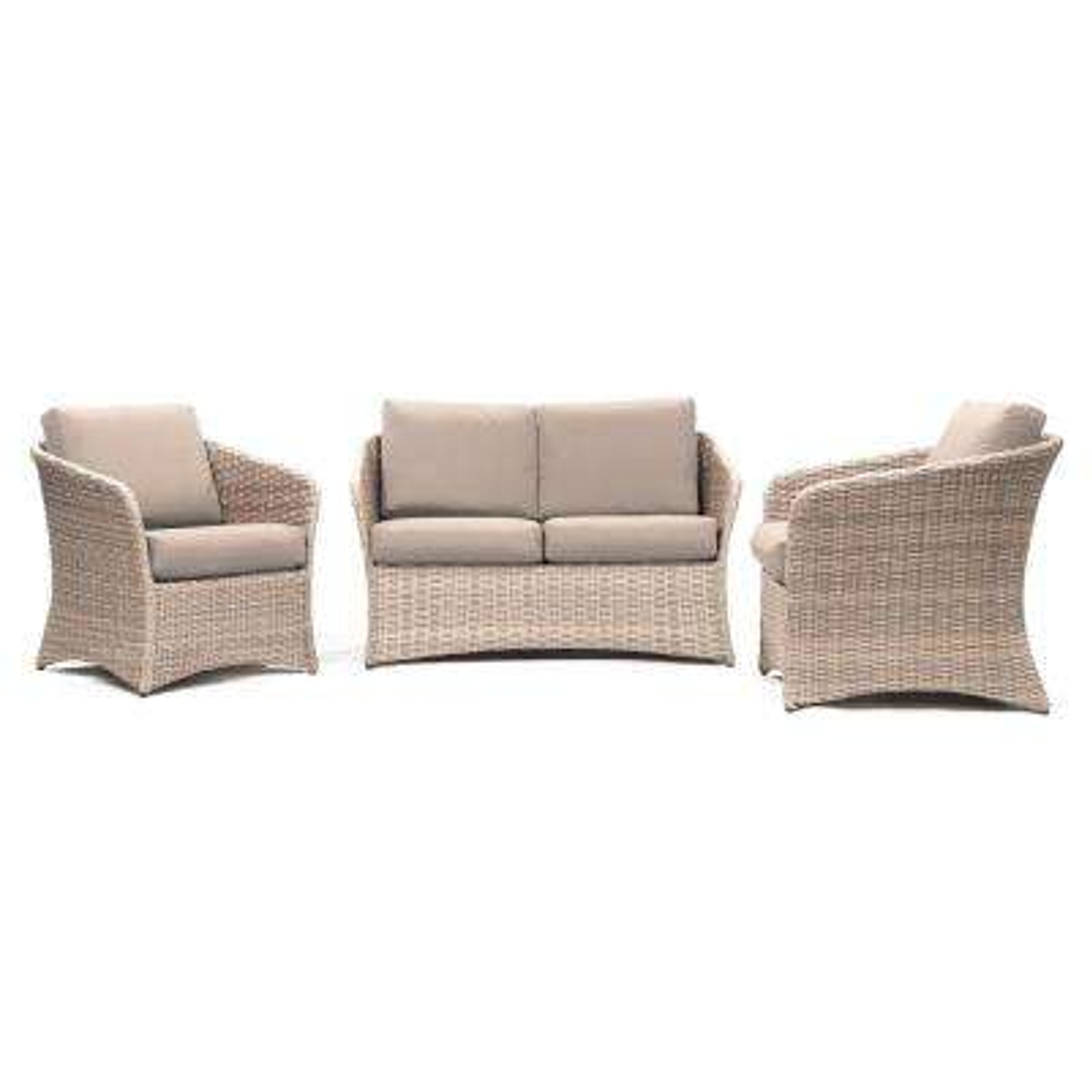 Montgomery 3-Piece Wicker Conversation Set with Sunbrella Cast Ash Cushions