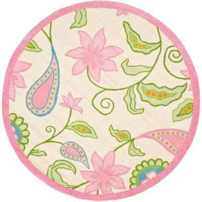 Kids Ivory/Pink 6 ft. x 6 ft. Round Area Rug