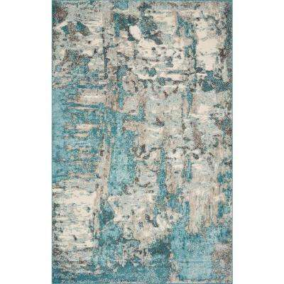 Watercolors Ivory/Teal 5 ft. x 8 ft. Watercolor Area Rug