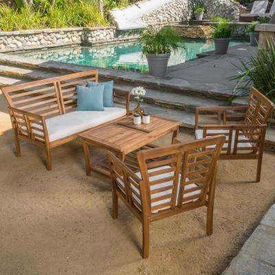 Caydon Brown 4-Piece Wood Patio Conversation Set with Beige Cushions