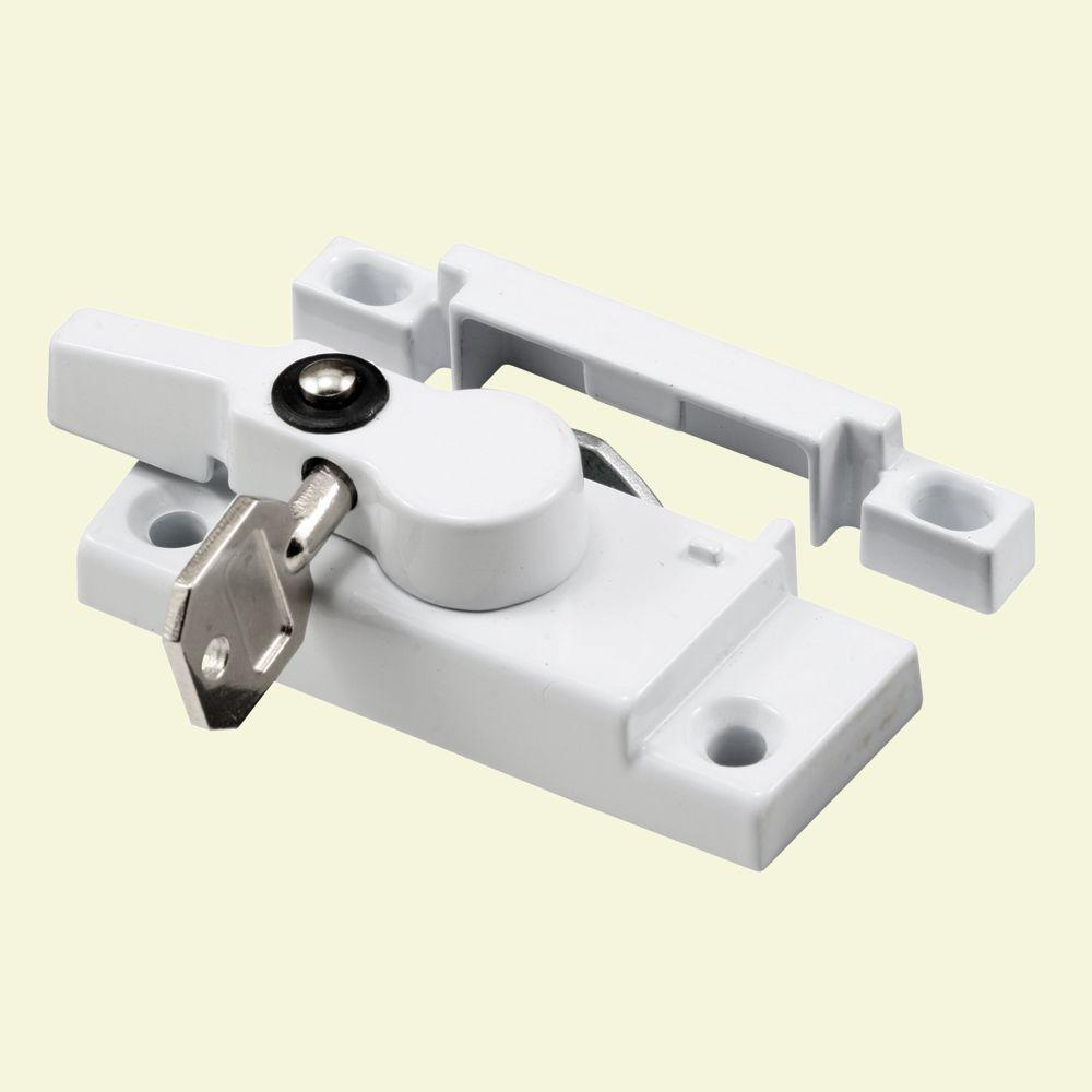 Prime-Line Window Sash Lock, Keyed, Cam Action With Lugs, White Diecast-DISCONTINUED