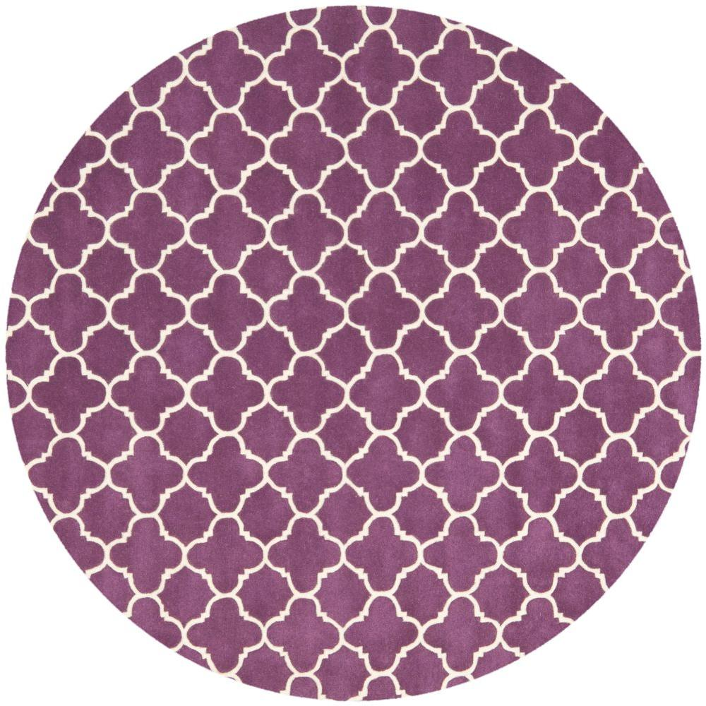 Safavieh Chatham Purple/Ivory 7 ft. x 7 ft. Round Area Rug