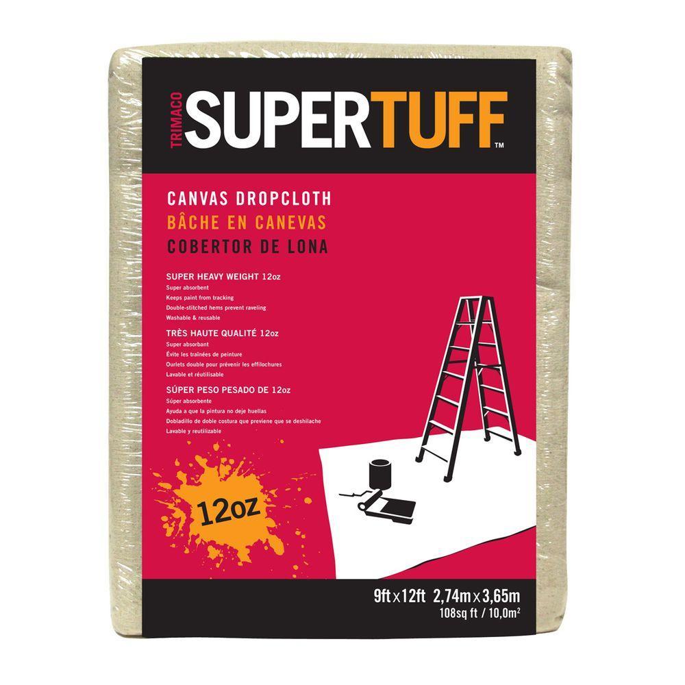 12 oz. 9 ft. x 12 ft. Premium Contractor Grade Super Heavy Weight Canvas Drop Cloth