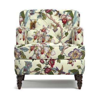 Simona Arm Chair in Textured Linen-Like Neutral Multi-Floral Pattern with Birds