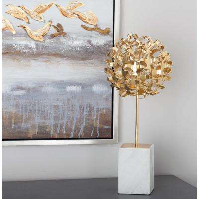 19 in. Seagull Ball Decorative Sculpture in Gold