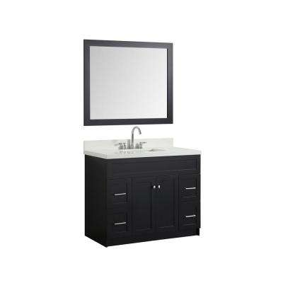 43 in. Bath Vanity in Black with Quartz Vanity Top in White with White Basin and Mirror