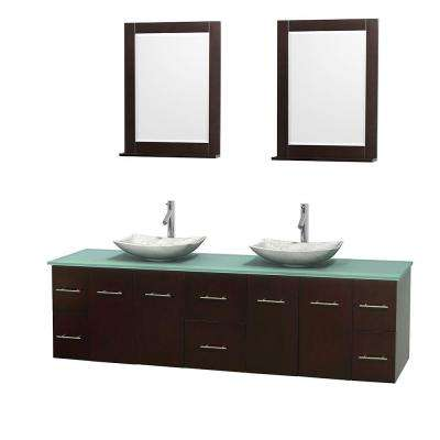 Centra 80 in. Double Vanity in Espresso with Glass Vanity Top in Green, Carrera Marble Sinks and 24 in. Mirrors