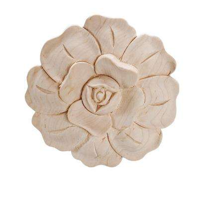 3-3/4 in. x 5/8 in. Unfinished Medium Hand Carved North American Solid Hard Maple Wood Onlay Rose Wood Applique
