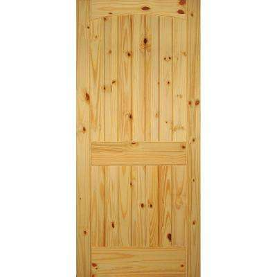 2-Panel Arch Top V-Grooved Solid Core Knotty Pine Single Prehung Interior Door