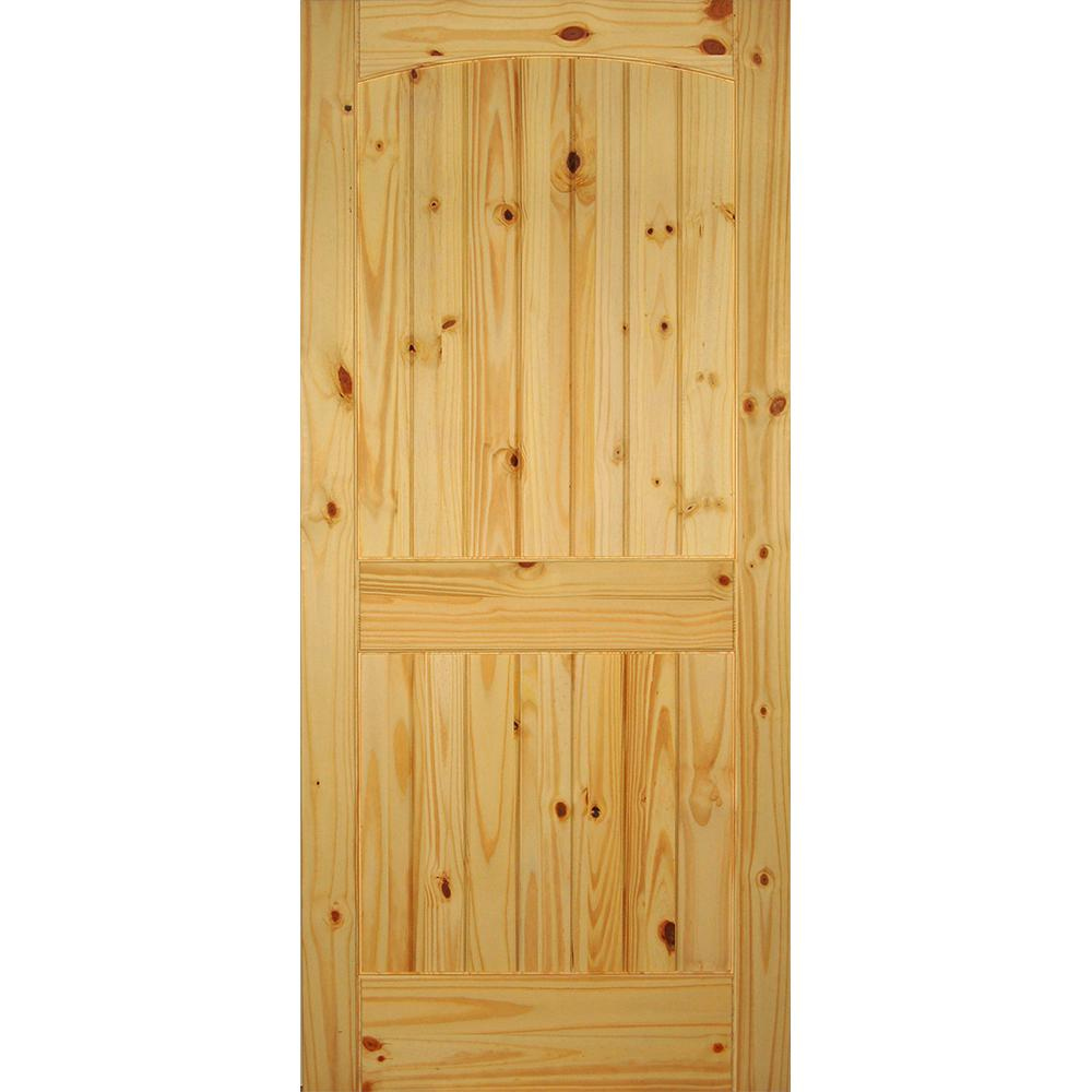 Builders Choice 36 In X 80 In 2 Panel Solid Core Unfinished Arch Top V Grooved Knotty Pine Single Prehung Interior Door