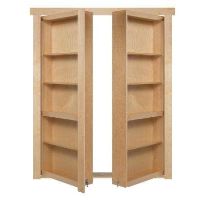 60 in. x 80 in. Flush Mount Assembled Maple Natural Stained Out-Swing Solid Core Interior French Bookcase Door