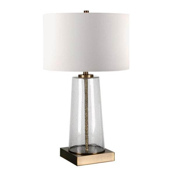 Dax 25-1/8 in. Tapered Seeded Glass Brass Accent Table Lamp