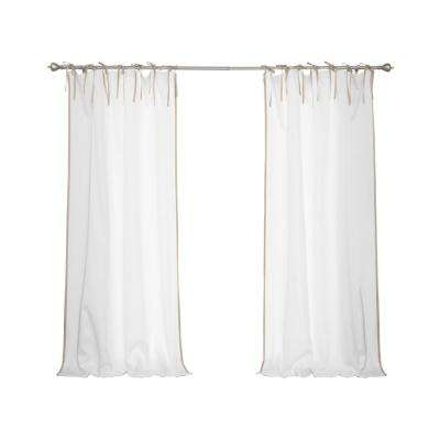 Oxford Outdoor 52 in. W x 96 in. L Tie Top Wheat Border Curtains in White (2-Pack)