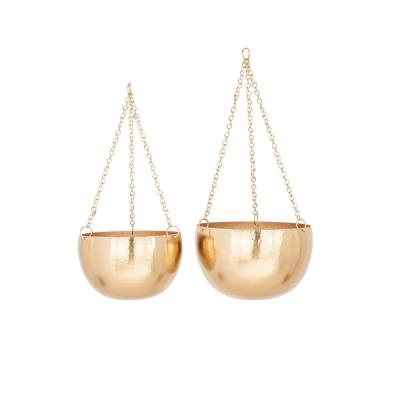 Modern 5 in. and 7 in. Round Gold Iron Hanging Planters (Set of 2)