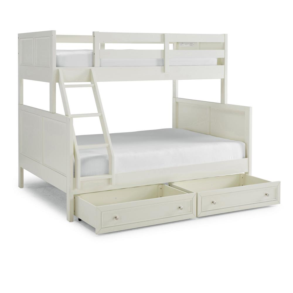 home styles naples off white twin over full bunk bed with storage drawers 5530 55d the home depot. Black Bedroom Furniture Sets. Home Design Ideas
