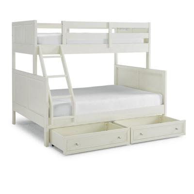 Naples Off White Twin Over Full Bunk Bed with Storage-Drawers