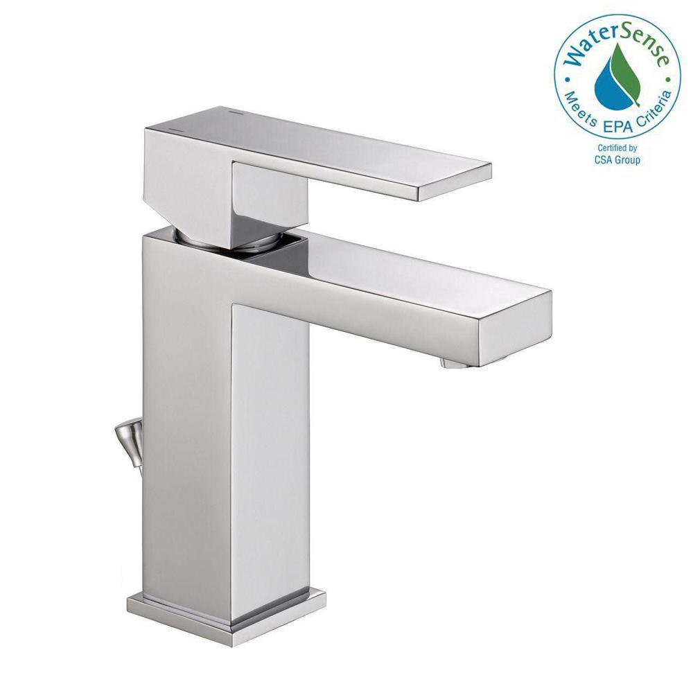 Delta Modern Single Hole Single-Handle Bathroom Faucet in Chrome ...