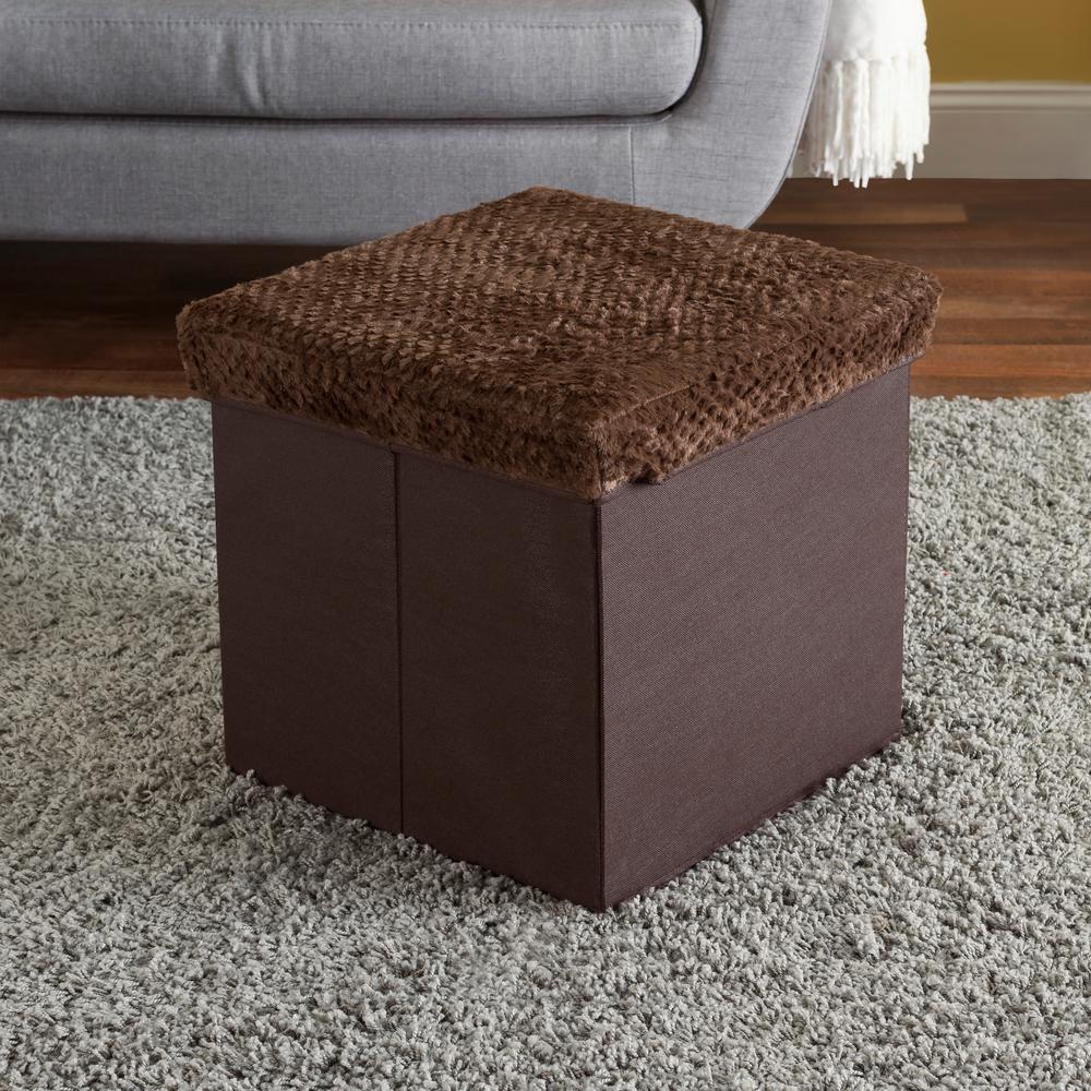 Brown Faux Fur Top Storage Ottoman