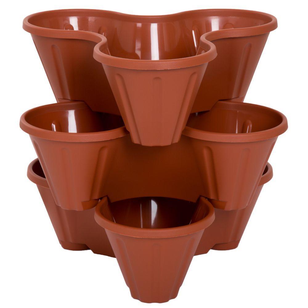 pure garden 13 in plastic stackable planters 3 pack - Garden Pots