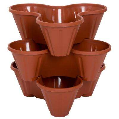 13 in. Plastic Stackable Planters (3-Pack)