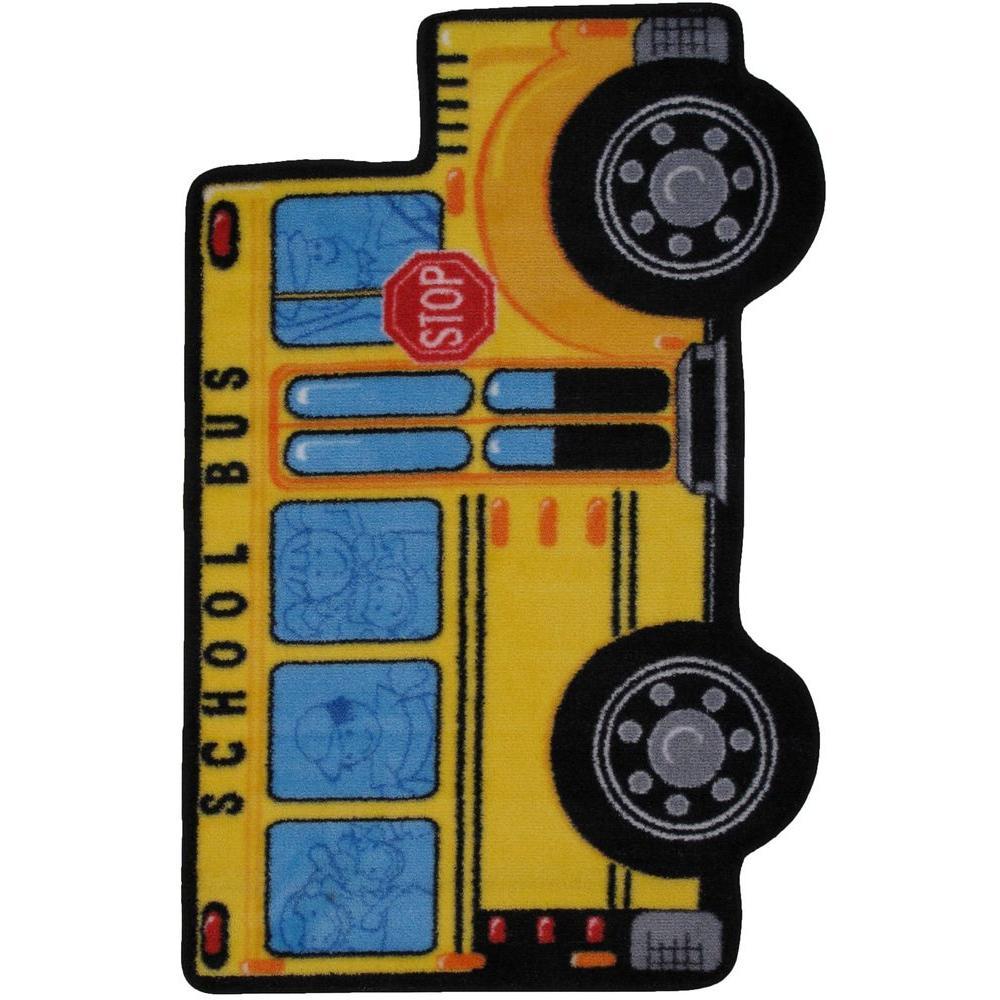 Fun Time Shape School Bus Multi Colored 3 ft. x 4 ft. Area Rug
