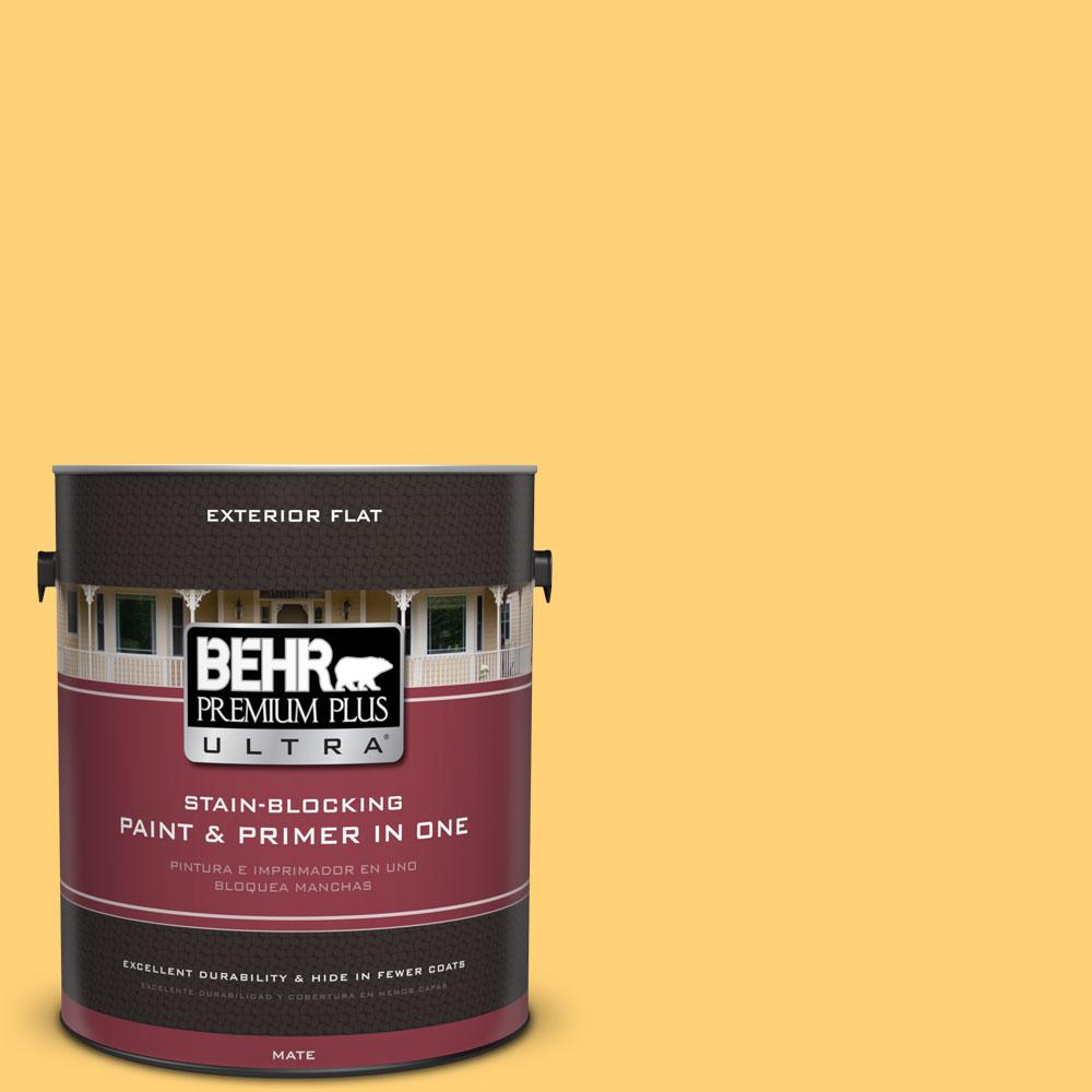 1-gal. #P260-5 Yellow Jubilee Flat Exterior Paint
