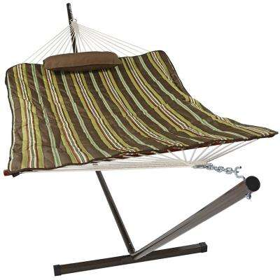 12 ft. L Rope Hammock Bed Combo with Stand, Pad and Pillow in Desert Stripe