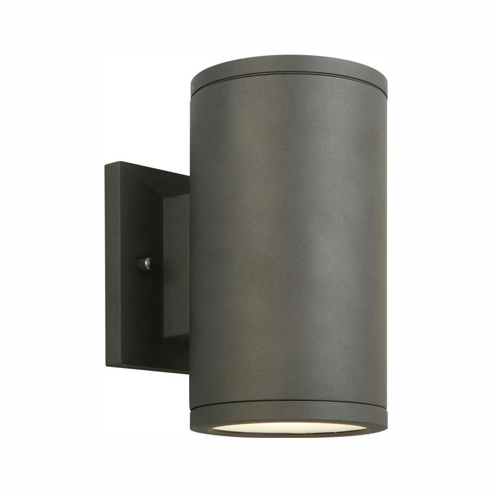 Home Decorators Collection Black LED Outdoor Wall Lantern Sconce with Frosted Glass