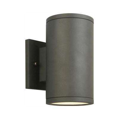 Black LED Outdoor Wall Lantern Sconce with Frosted Glass
