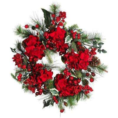 22 in. Holiday Hydrangea Wreath