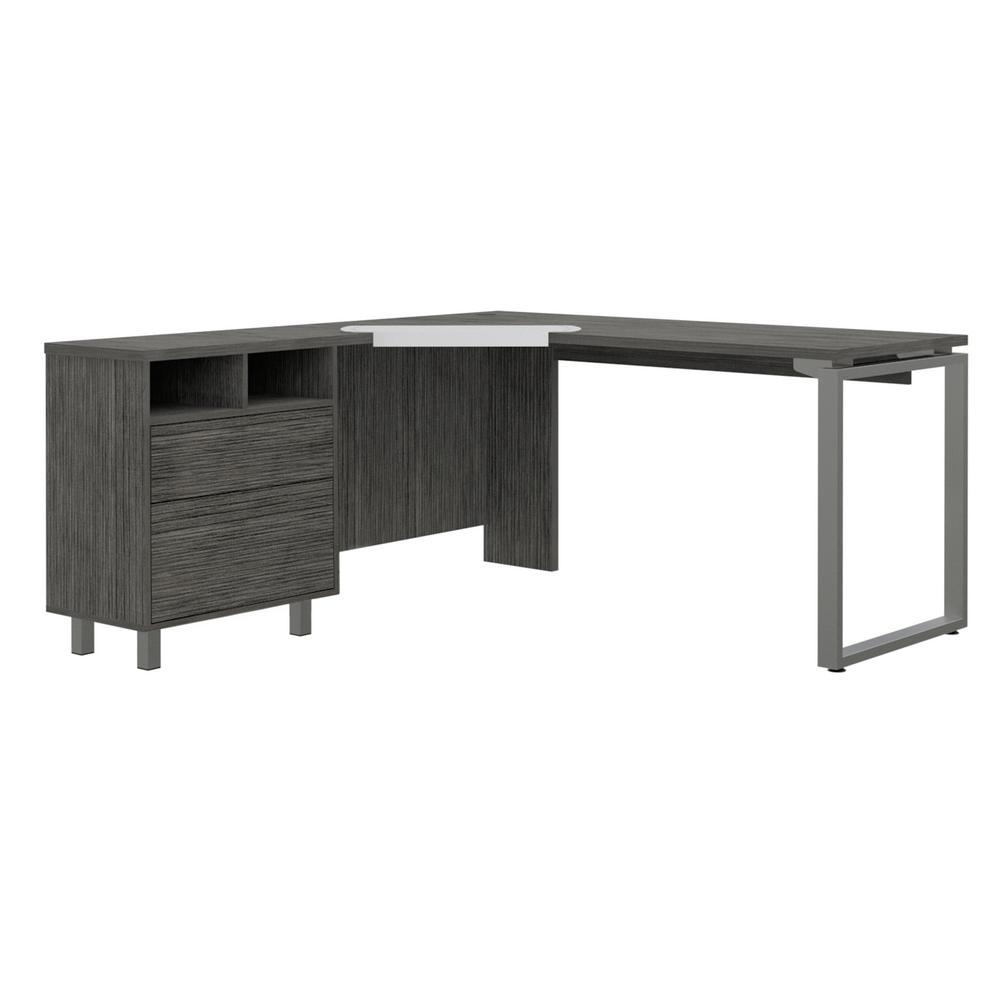 Emery 63 in Rectangular Gray Oak Wood 3-Drawer Desk