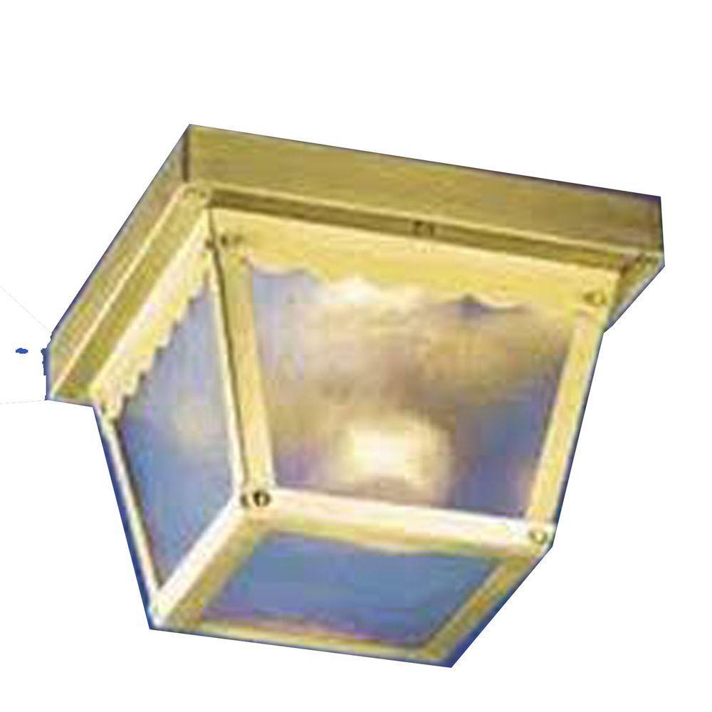 Lenor 2-Light Antique Brass Fluorescent Ceiling Semi Flush Mount
