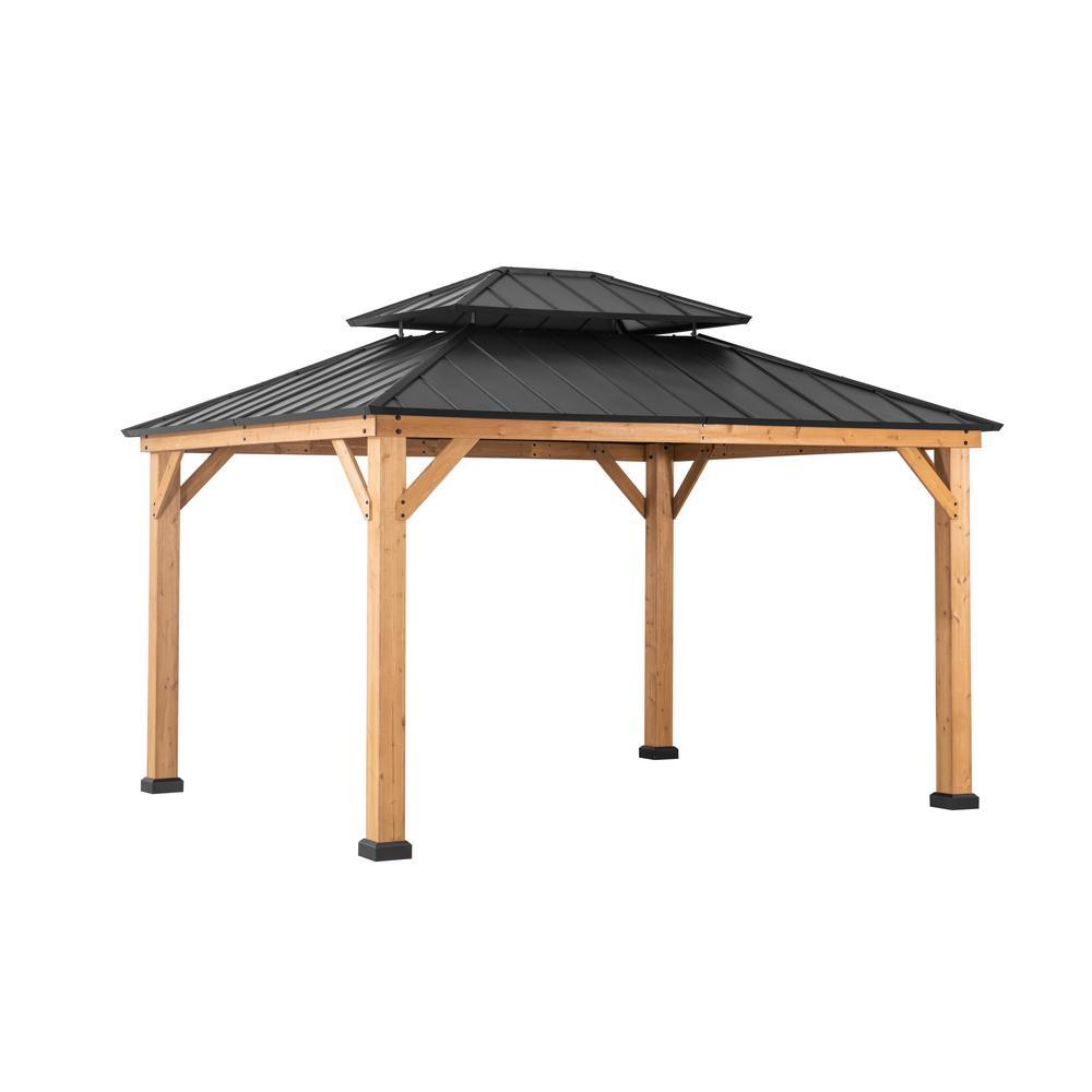 Sunjoy Archwood 13 Ft X 11 Ft Cedar Frame Gazebo With Double Tier Steel Roof Hardtop A102007500 The Home Depot