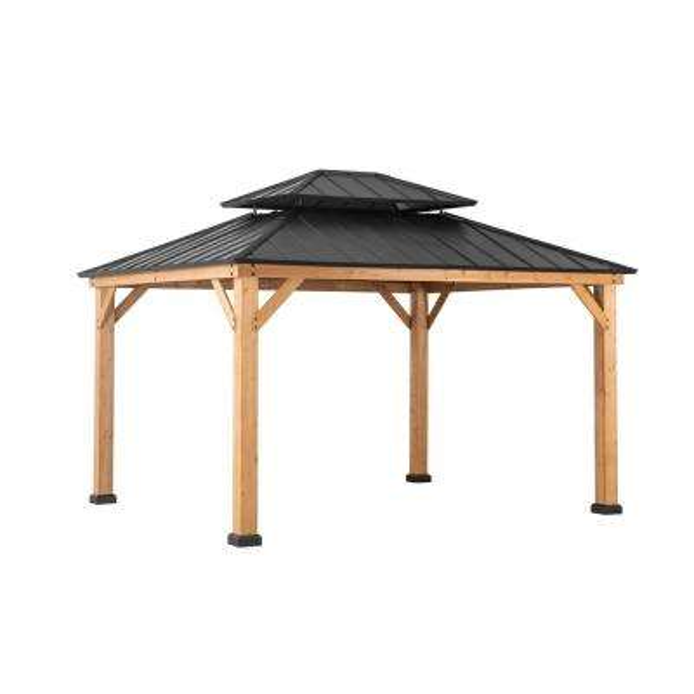 Archwood 12 ft. x 10 ft. Cedar Frame Gazebo with Double Tier Steel Roof Hardtop