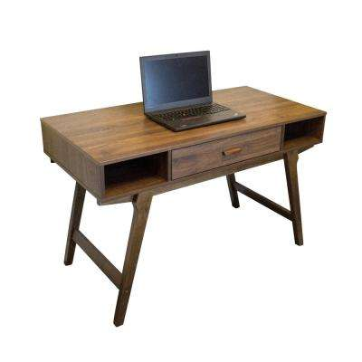 Mid Century Collection Danish Walnut Writing Desk with Solid Wood Legs and Pencil Drawer