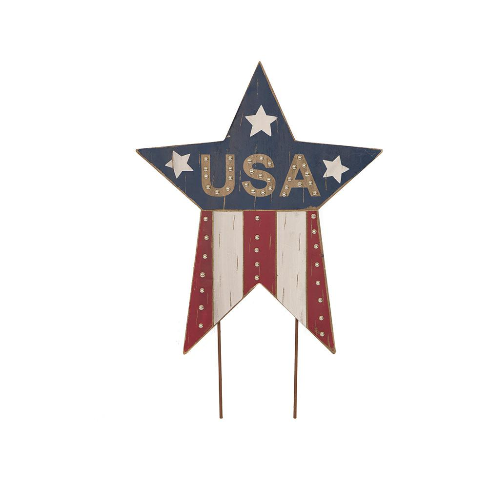 24.02 in. H Patriotic Wooden Studded Star Yard Stake or W...