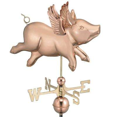 Flying Pig Weathervane - Pure Copper
