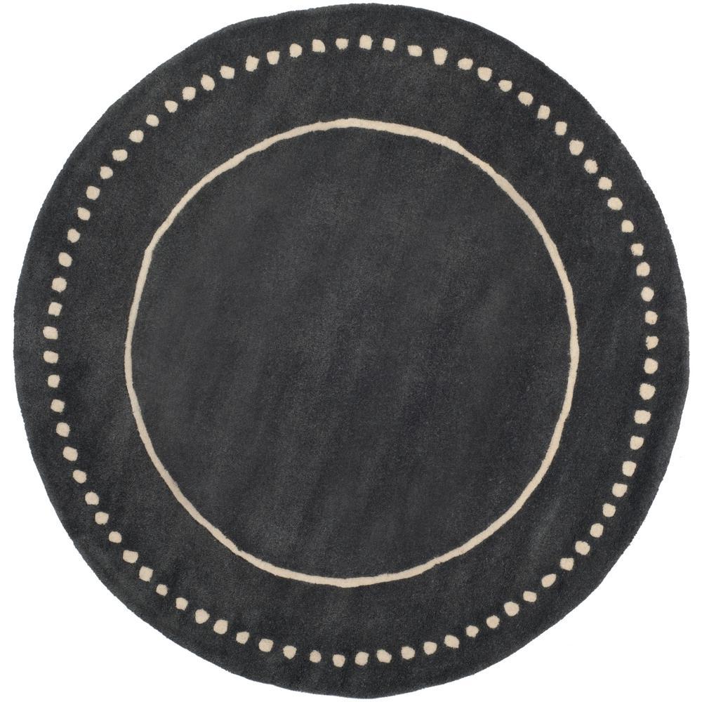 Bella Dark Gray/Ivory 5 ft. x 5 ft. Round Area Rug