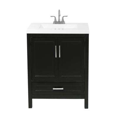 Salerno 25 in. Bath Vanity in Espresso with Cultured Marble Vanity Top in White with White Basin